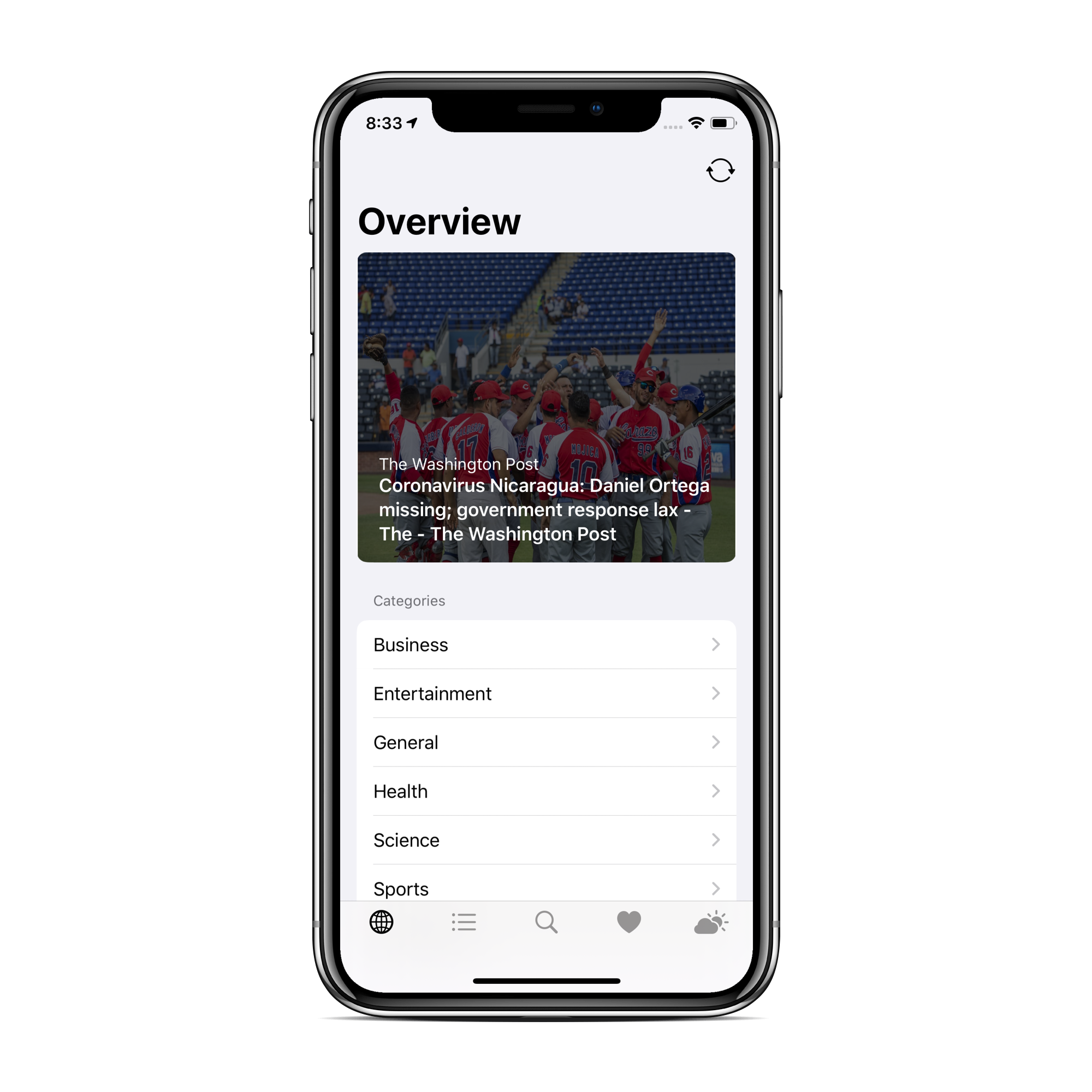 Promo image consisting of screenshot of iPhone showing the overview of the first tab