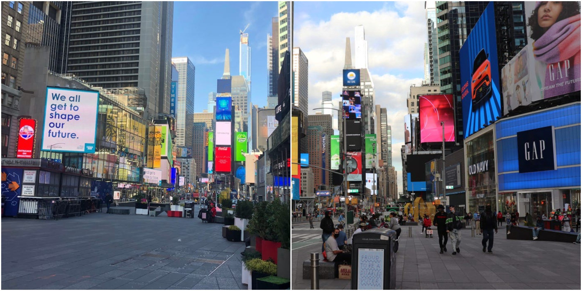 A photo on the left shows an empty Times Square. The image on the right shows people using it again.