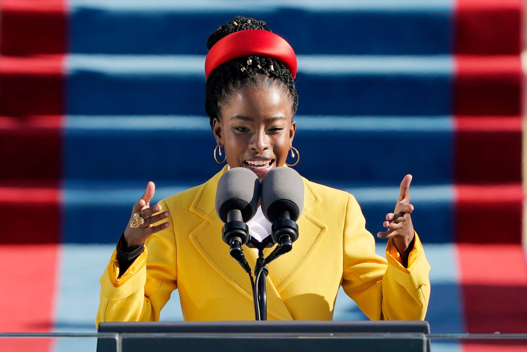American poet Amanda Gorman reads a poem during the 59th Presidential Inauguration at the US Capitol.
