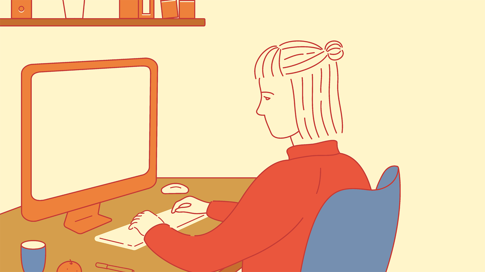 drawing of a woman sitting at her computer blogging