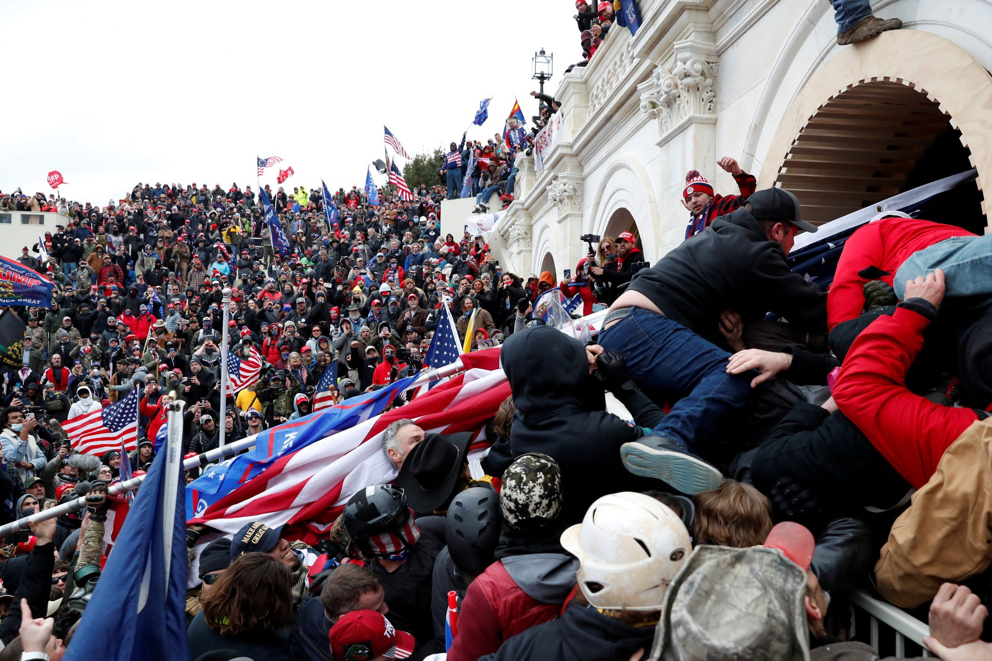 Pro-Trump protesters storm into the U.S. Capitol on Jan. 6, 2021.