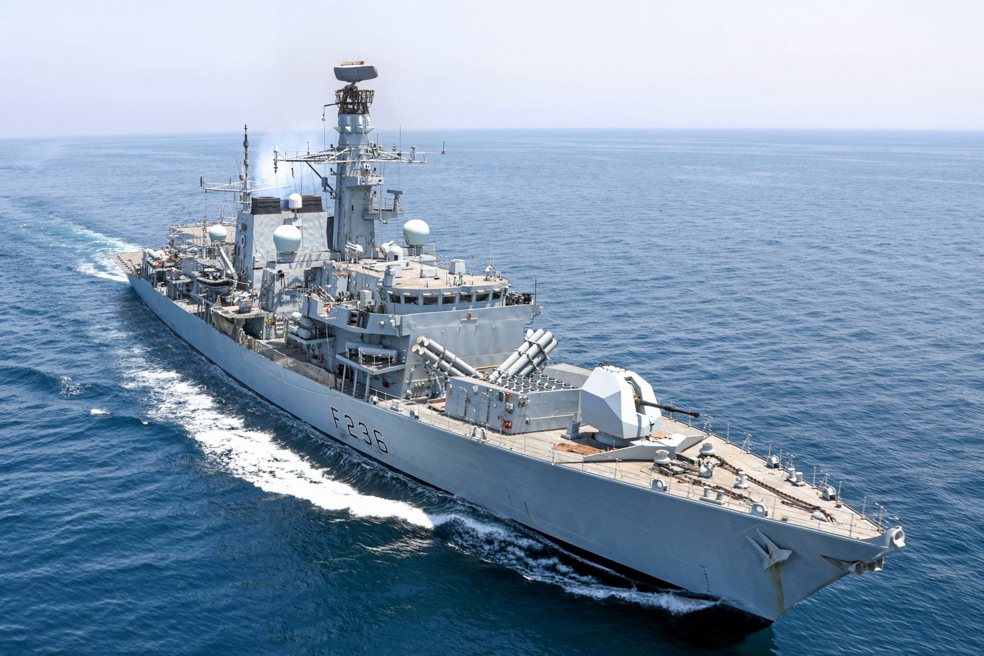 An image of HMS MONTROSE protecting international shipping lanes in the Gulf.