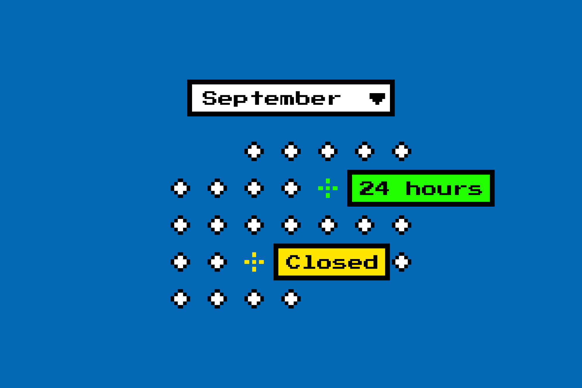 Fun visualization of a calendar of hours of operation.