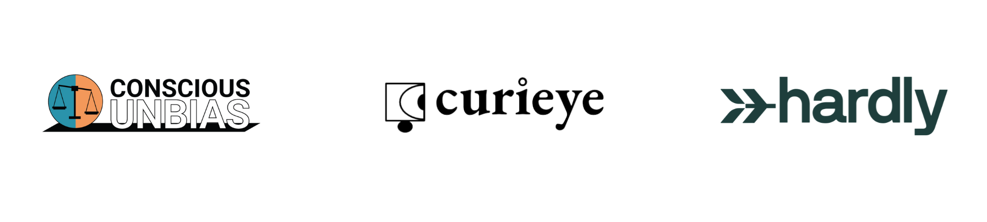 Logos for CONSCIOUS UNBIAS, CURIEYE, and HARDLY