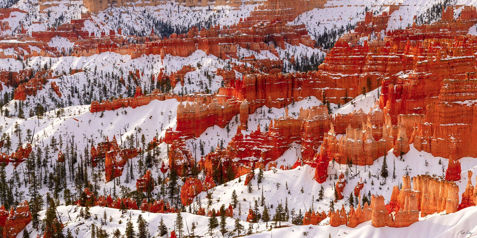 Overlook of the hoodoos in Bryce Canyon National Park after a snowfall.