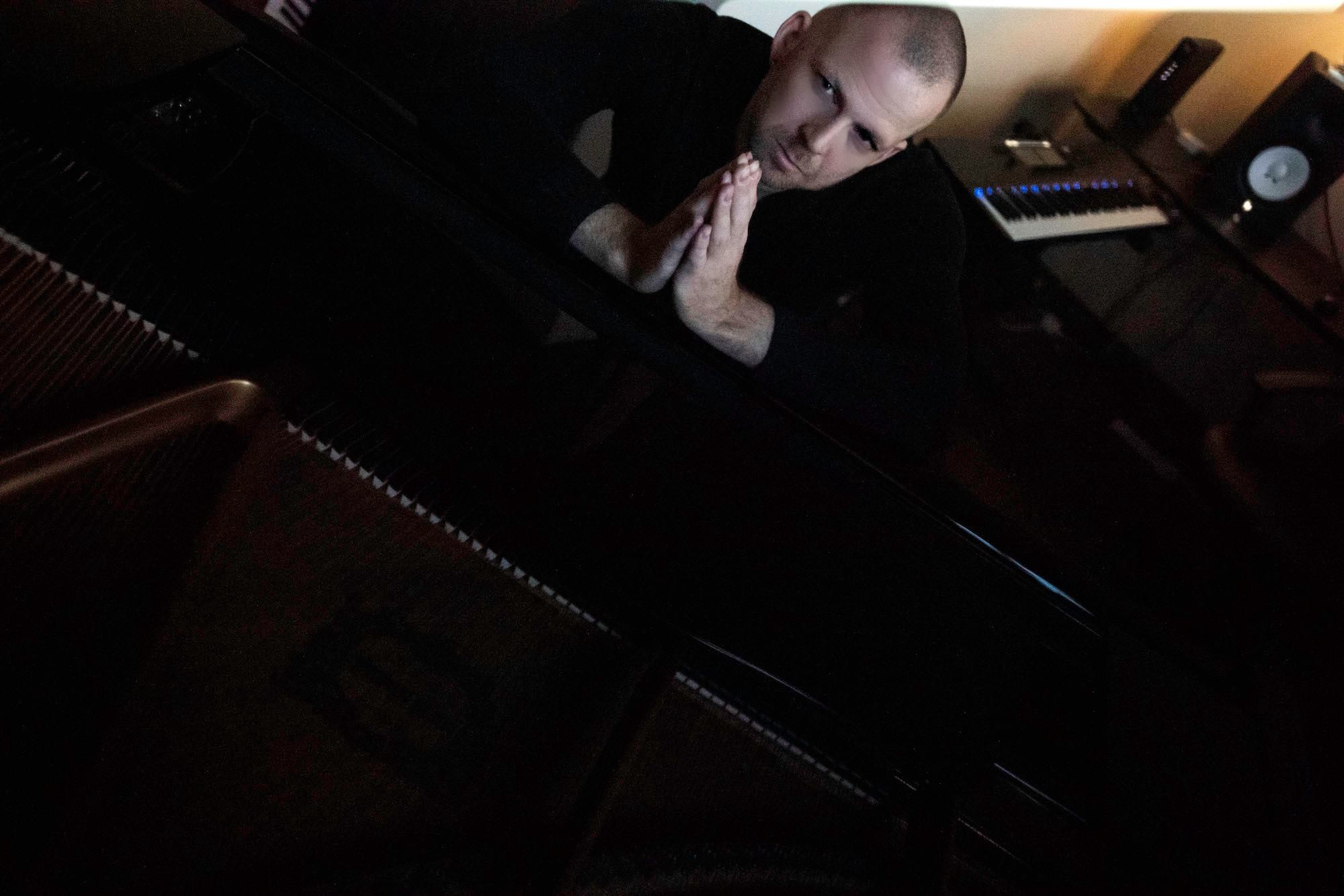 Pianist and songwriter Kit Taylor in his home studio in Orenco Station, Hillsboro, OR
