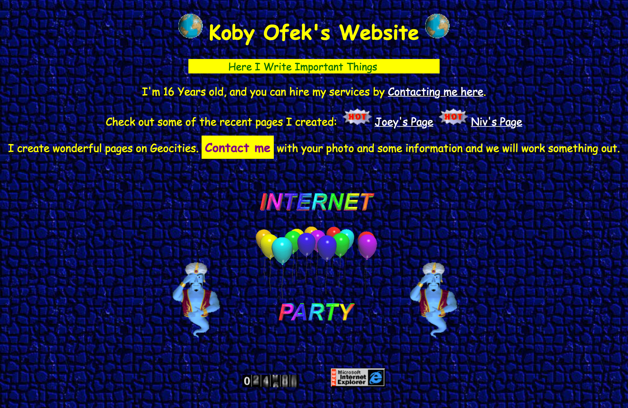 Illustrated mockup of how my Geocities page looked like in 1996. It was purple with bold yellow text and weird fonts.