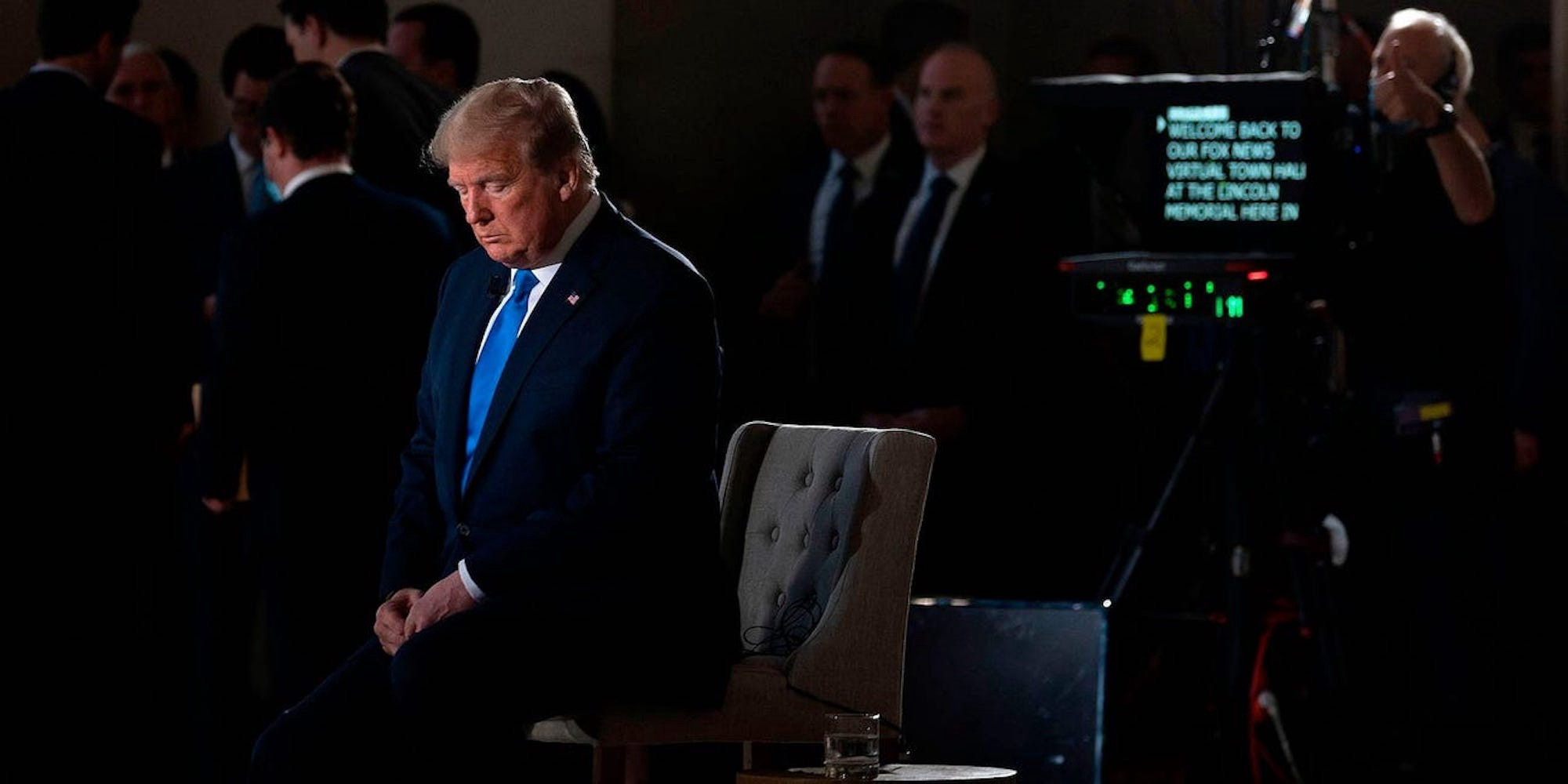 President Donald Trump during a Fox News virtual town hall on May 3, 2020.