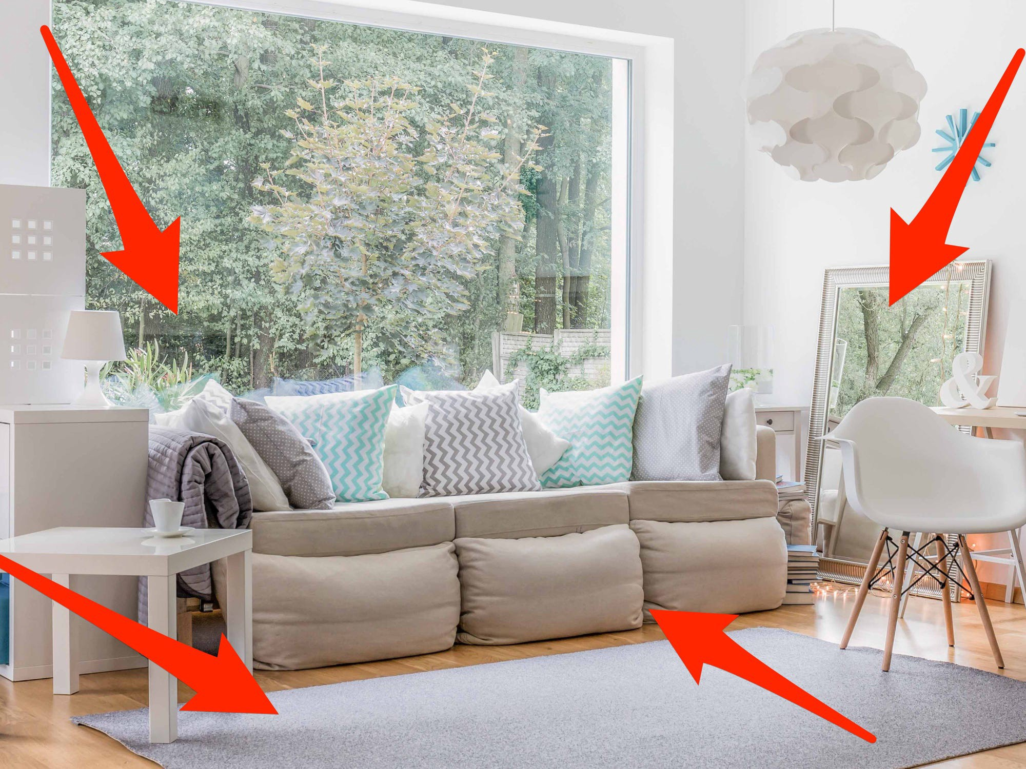 Arrows pointing to living room furniture.