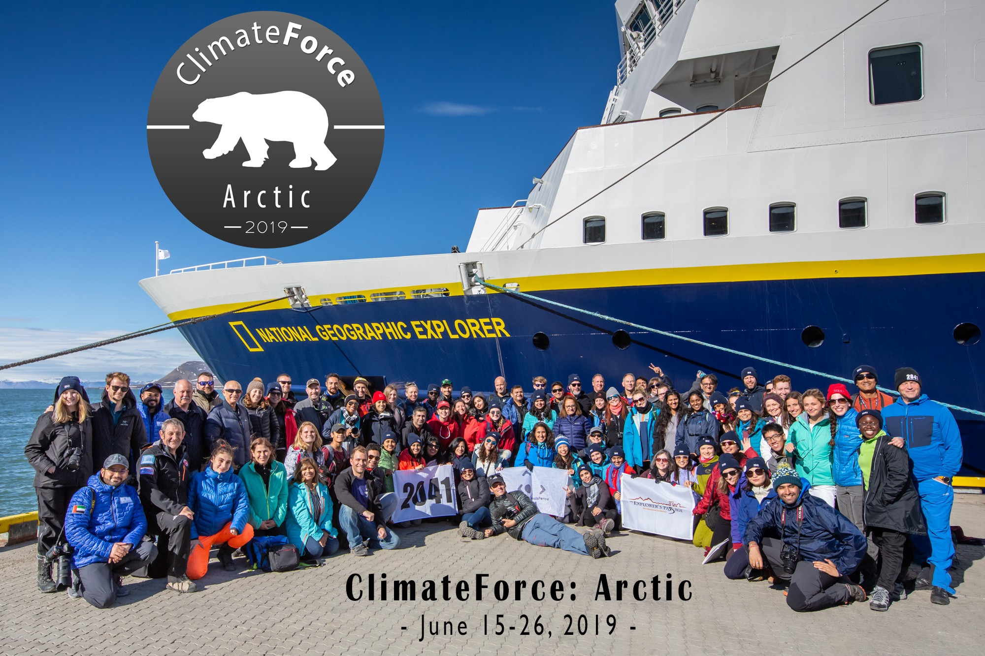 UT student Seyi Odufuye with ClimateForce students and explorer Robert Swan in front of their ship.