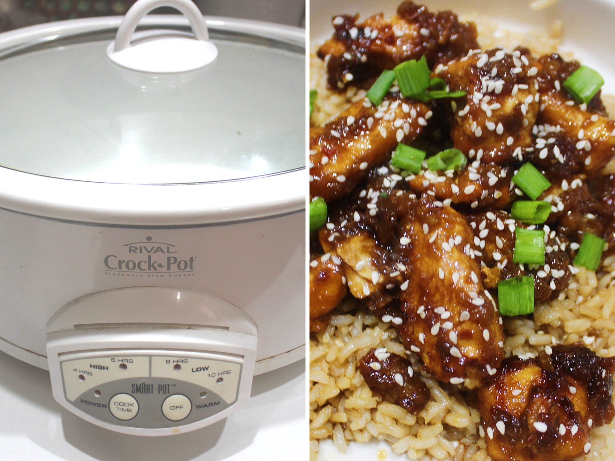 The slow cooker (left) and a meal (right).
