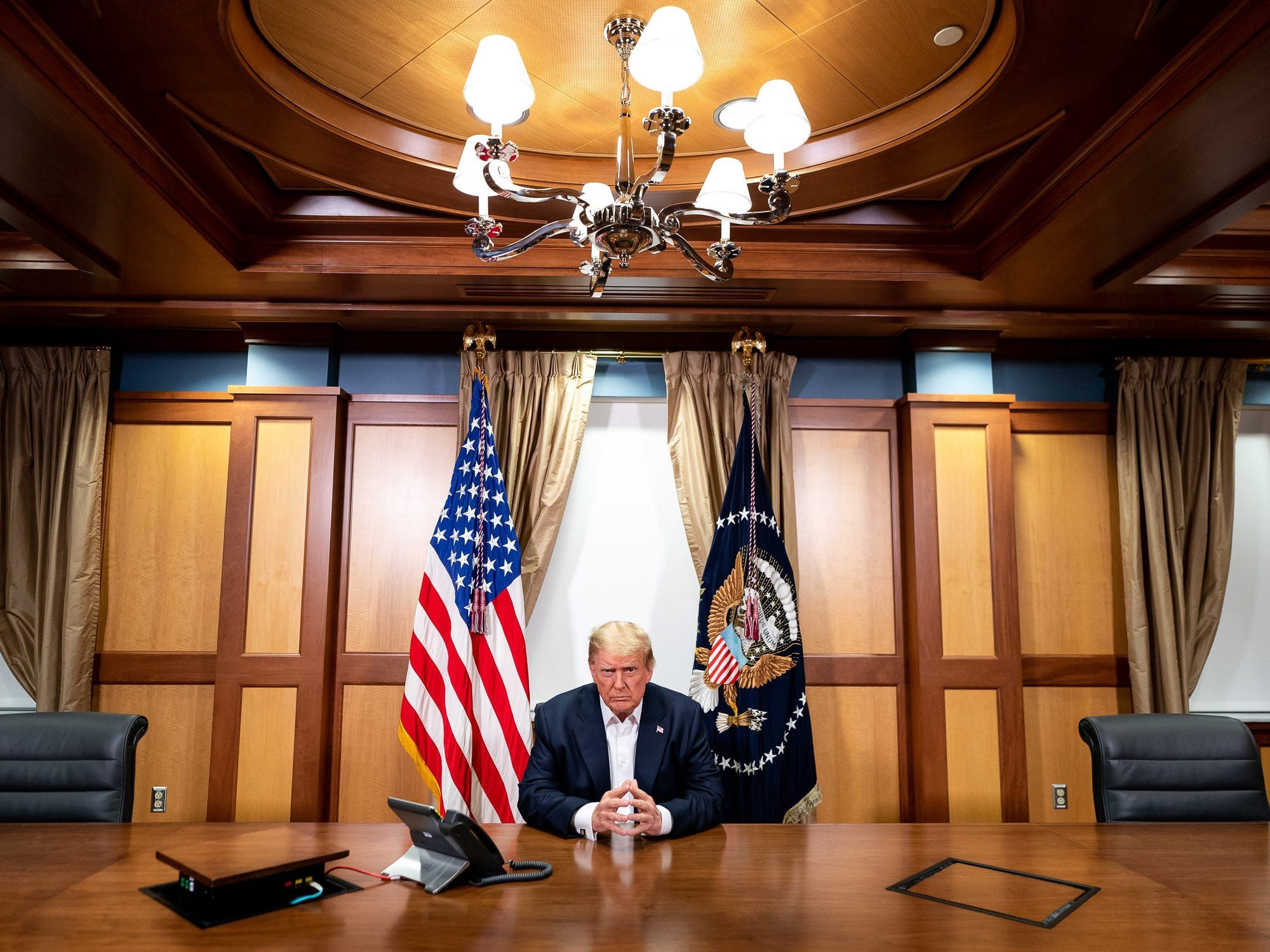 President Donald Trump in his conference room at Walter Reed National Military Medical Center in Bethesda, Maryland.
