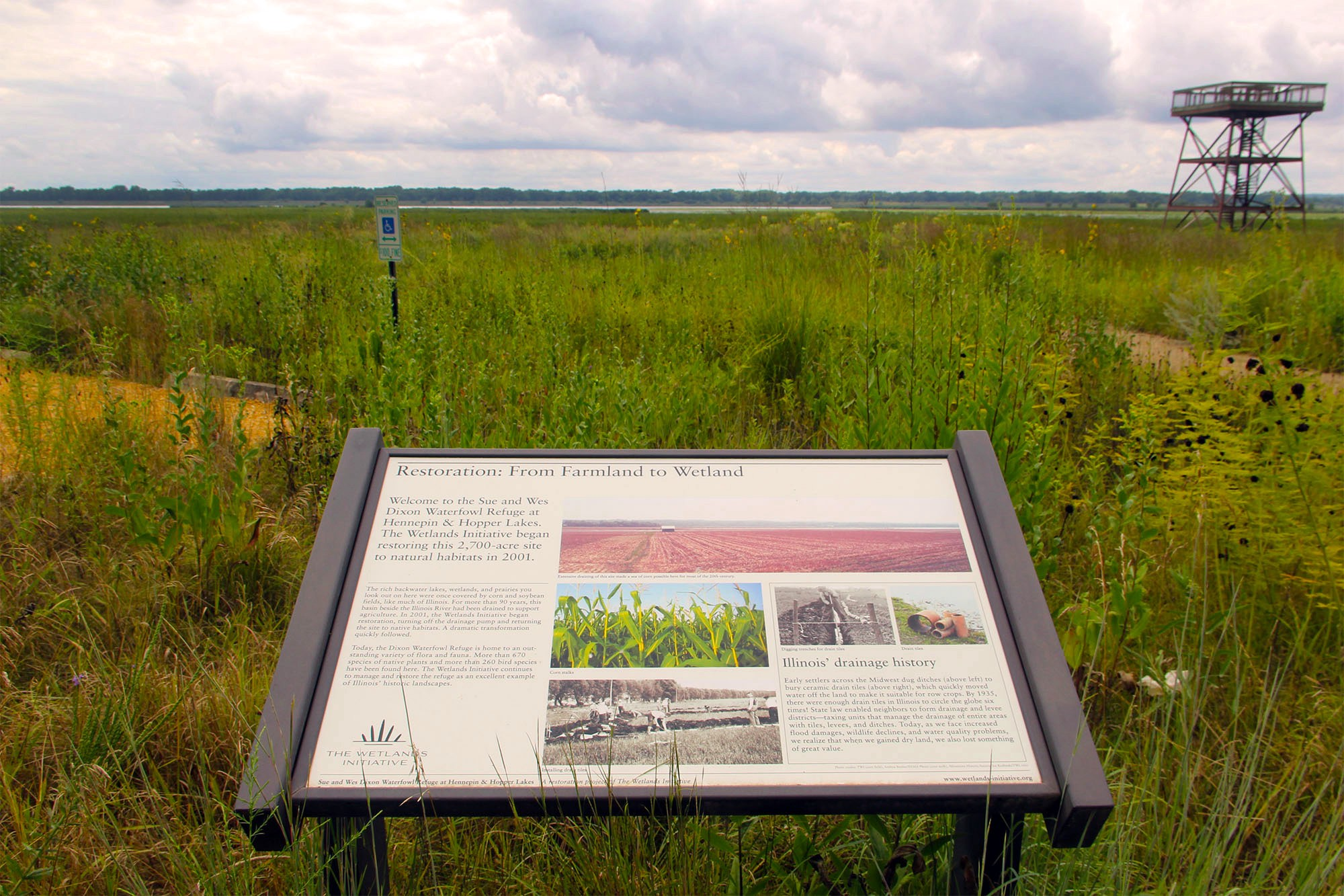 Interpretive sign in front of prairie landscape