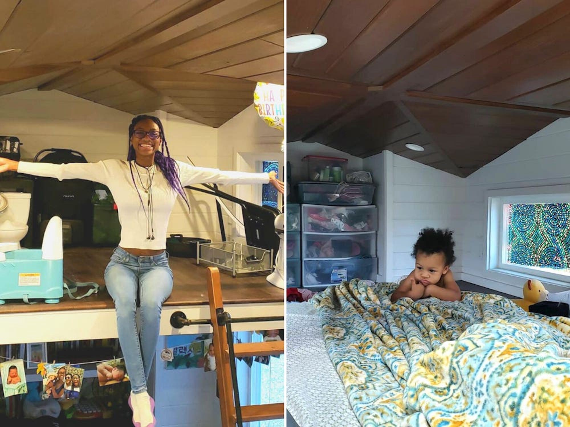 A side-by-side photo of Alexis Monkhouse in her tiny home (left) and her baby on their bed (right).