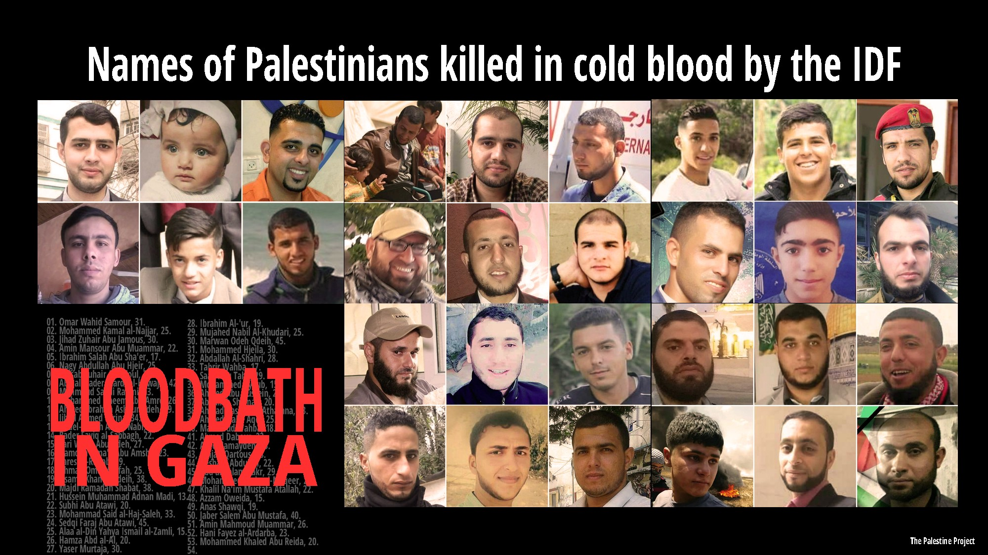 Names and ages of Palestinians killed by Israeli troops in Gaza