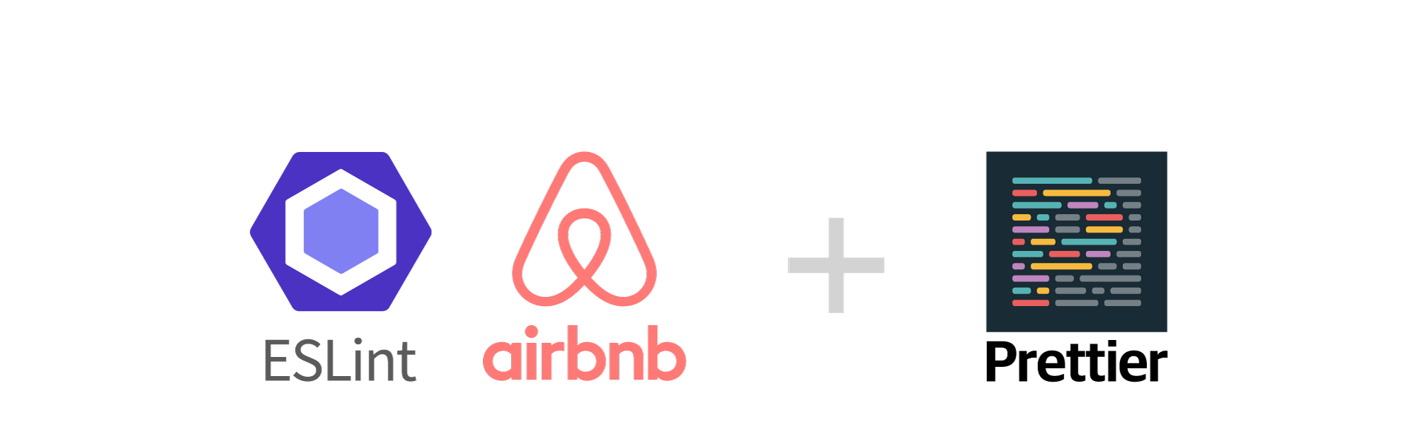 ESLint, airBnB and Prettier logos.