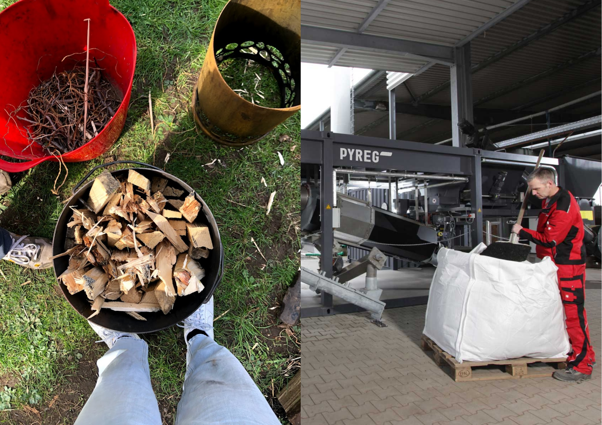 On the left is a small scale biochar kiln Earthly Biochar designed and on the right is a large scale machine by PYREG