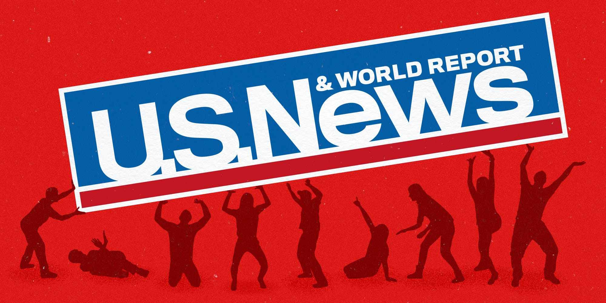A graphic featuring figures holding up a U.S. News & World Report banner.