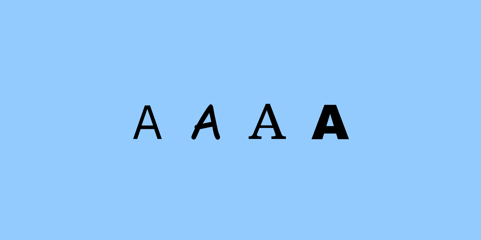 Graphic image of the letter A in 4 different typefaces on a light blue background.