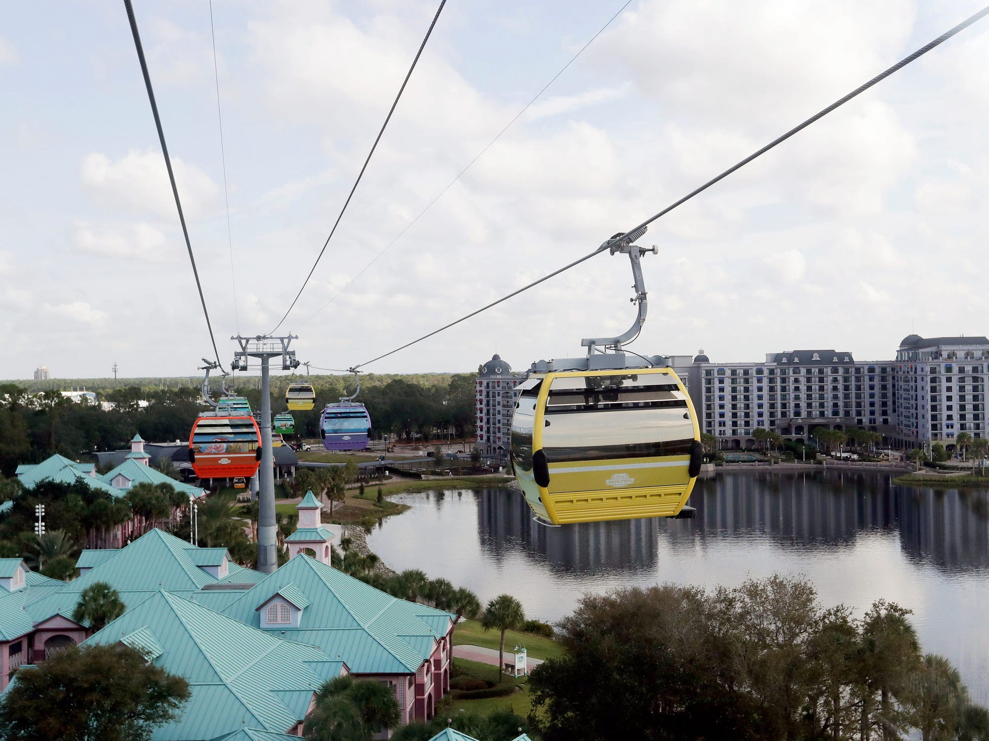 The Skyliner cable cars at Disney World.