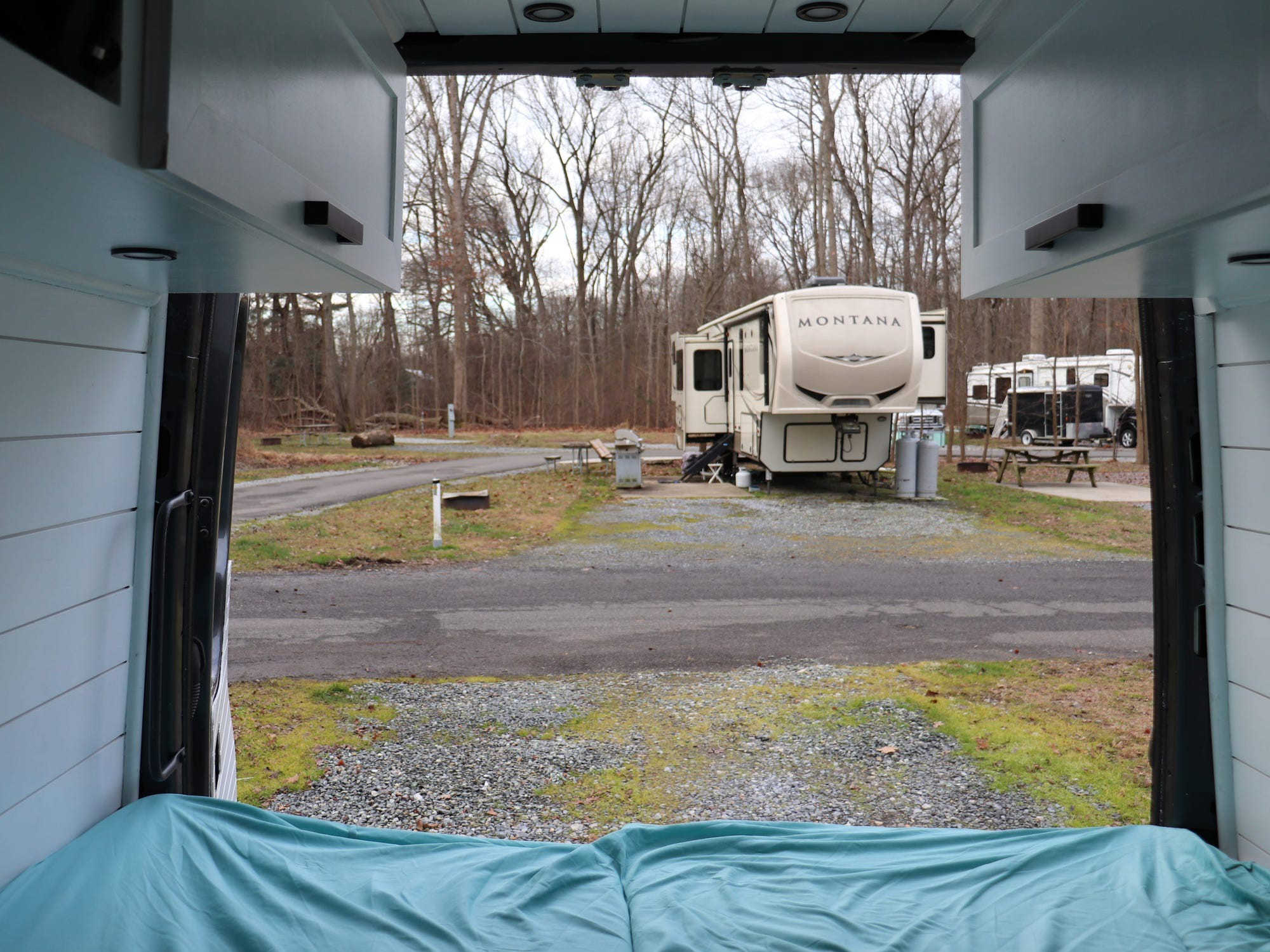 The view of a camper from inside the van.