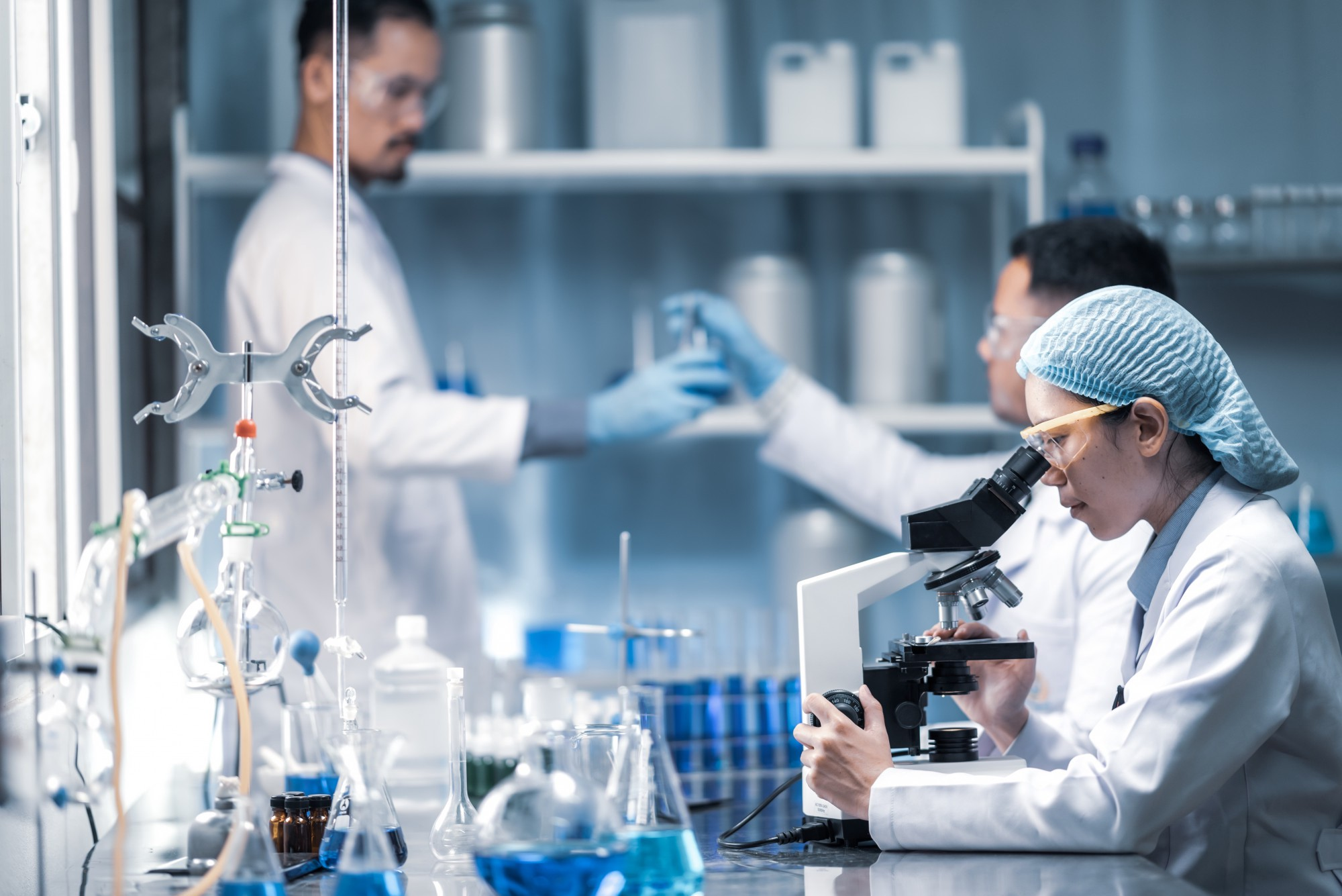 Health care researchers working in a life science laboratory.
