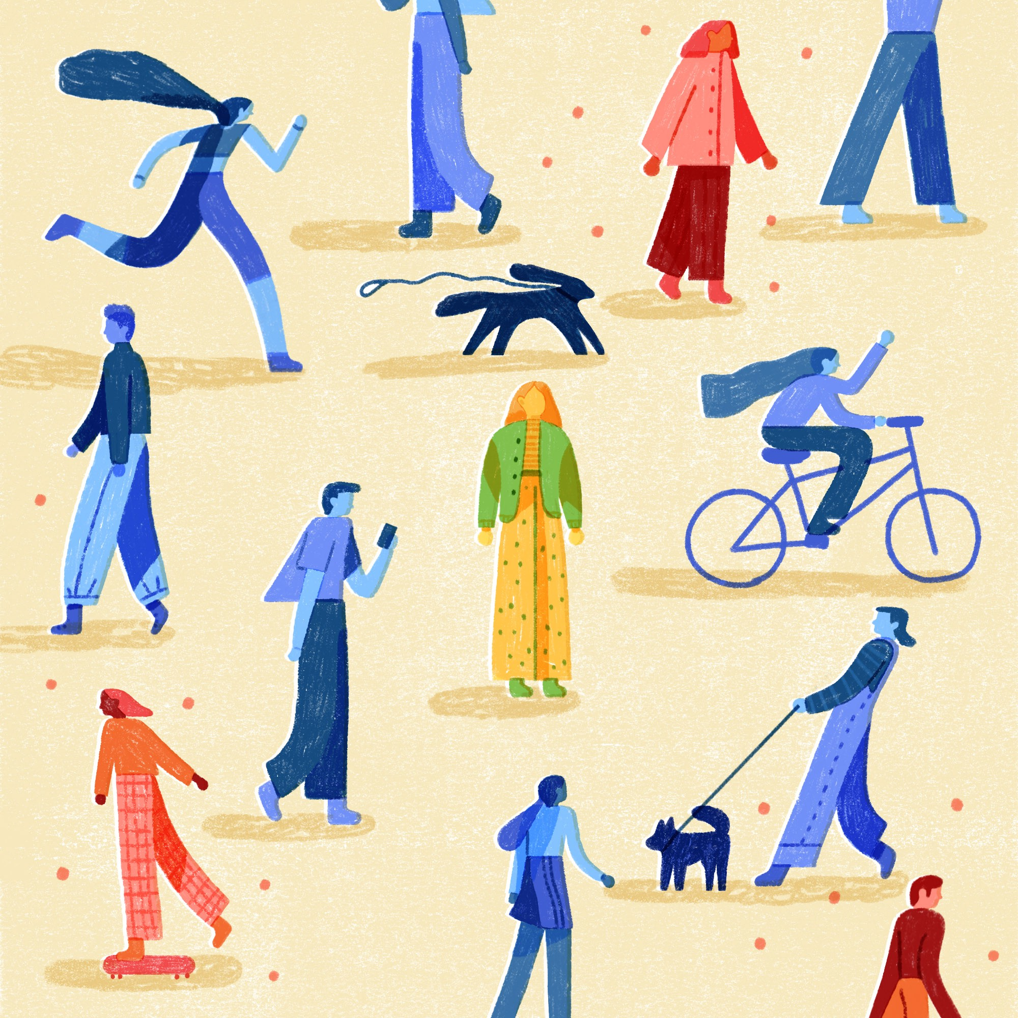 Colorful illustration of people outside in public.