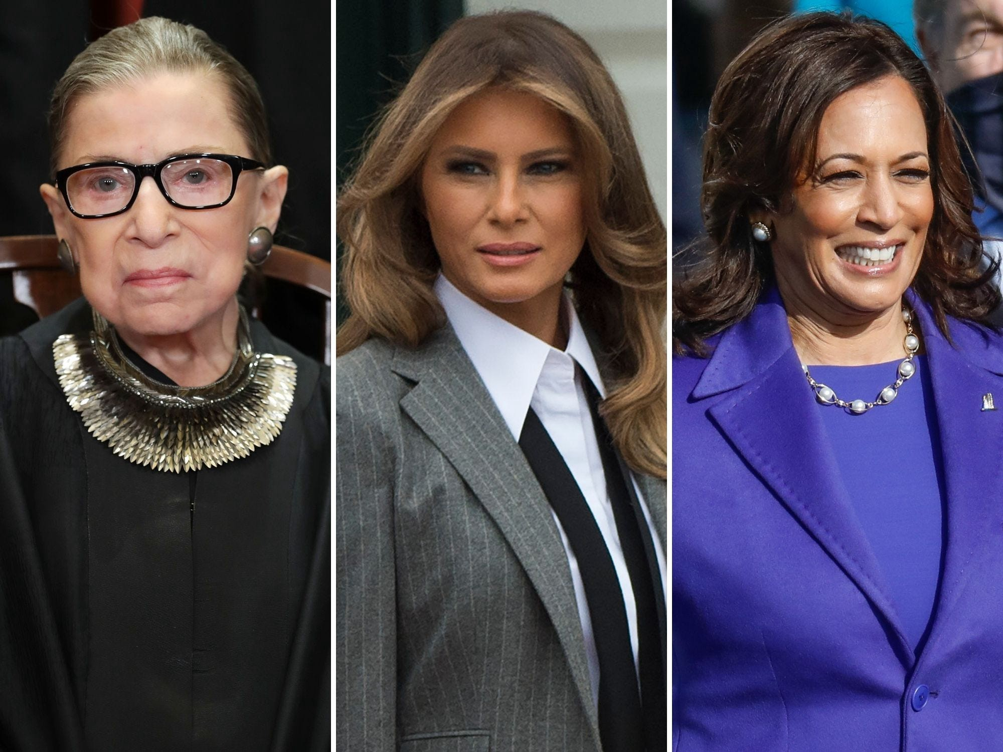 Supreme Court Justice Ruth Bader Ginsburg, former first lady Melania Trump, and Vice President Kamala Harris.
