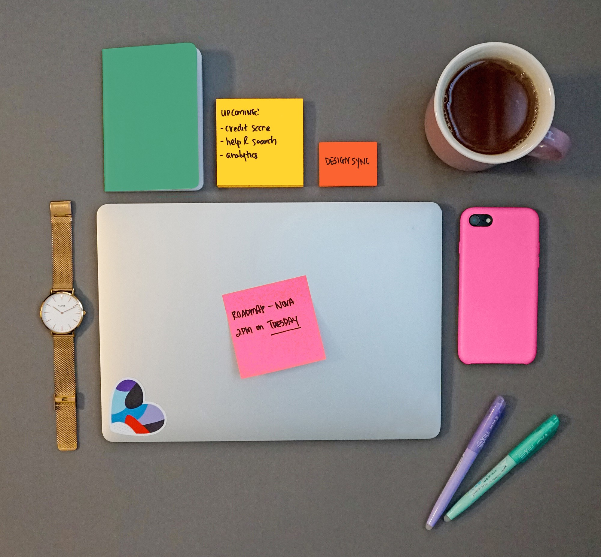 Watch, laptop, phone, post-it notes, and a cup of coffee