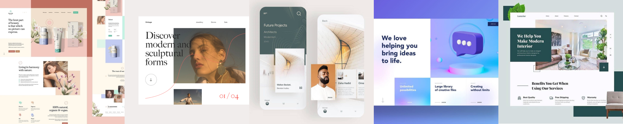 Examples of geometric structure in UI