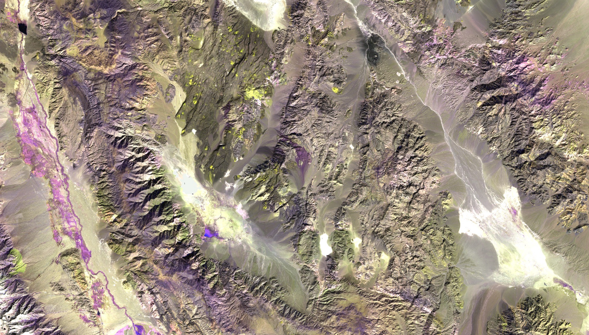 Sentinel-2 shortwave infrared false color over an area in southeast Nevada
