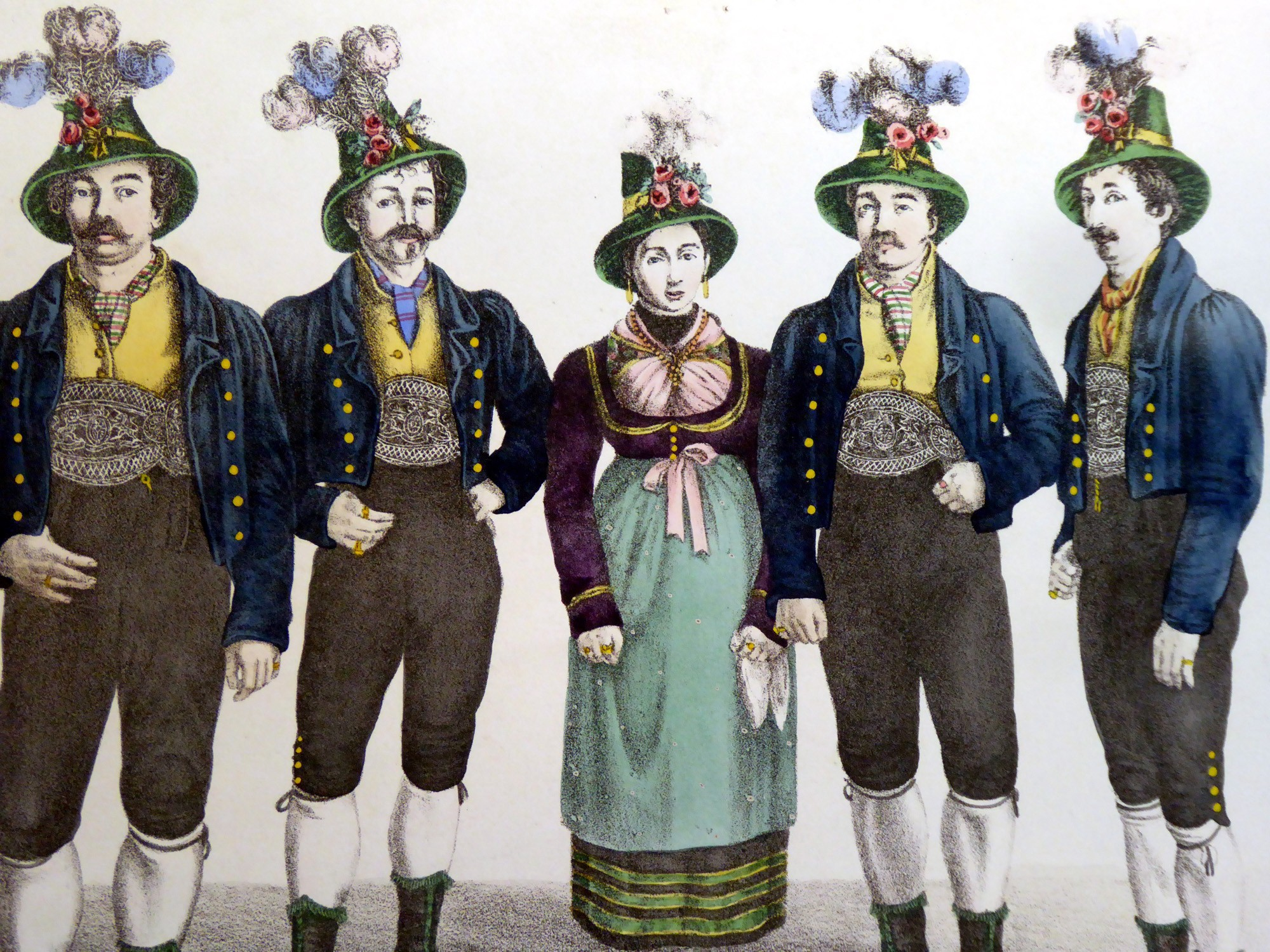 An illustration of the Rainer Family Singers, for men and one woman