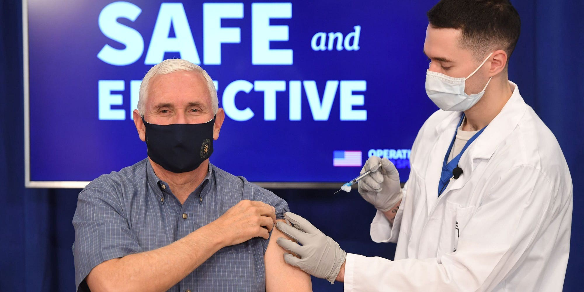 US Vice President Mike Pence receives the COVID-19 vaccine on December 18, 2020.