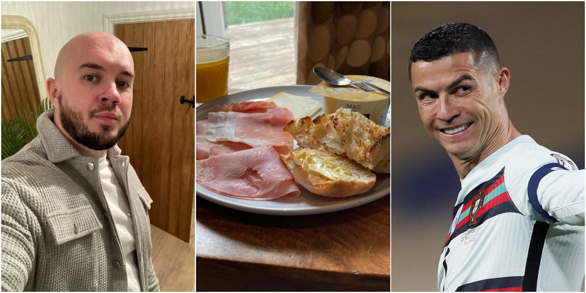 The author (left), his food (center), and Cristiano Ronaldo (right).