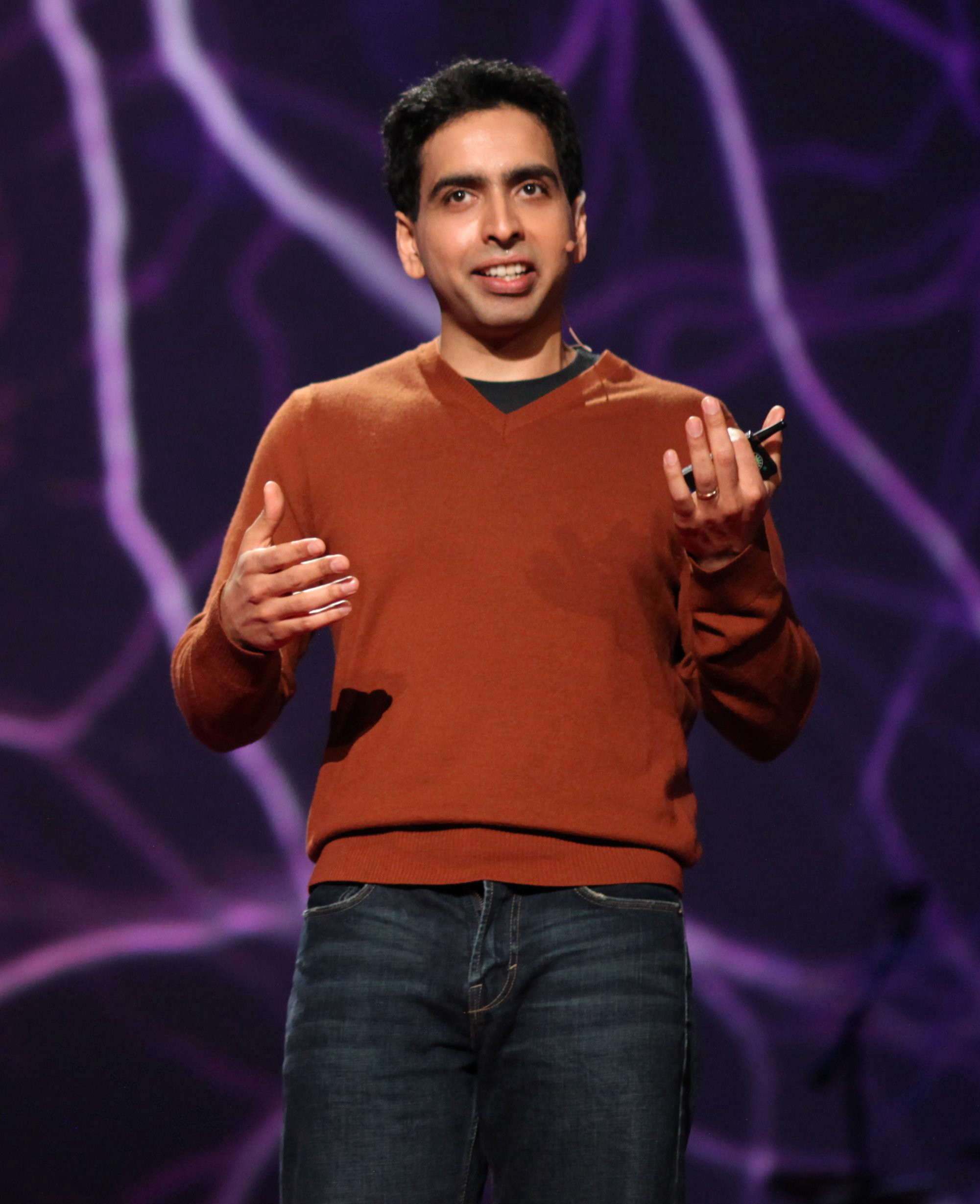 Sal Khan giving a Ted talk.