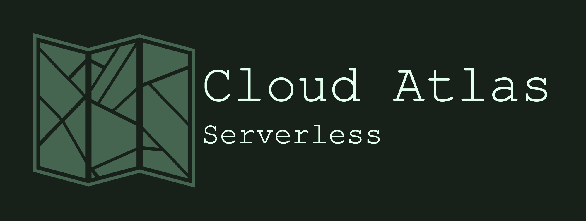 "Title image ""Cloud Atlas. Serverless"". Showing the outline of a paper map."