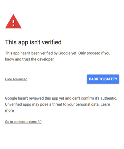 Your app isn't verified' error message and what it means for