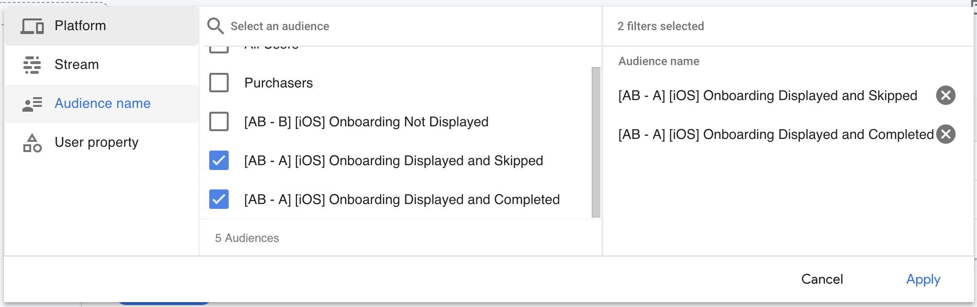 Filtering events by audience in Firebase
