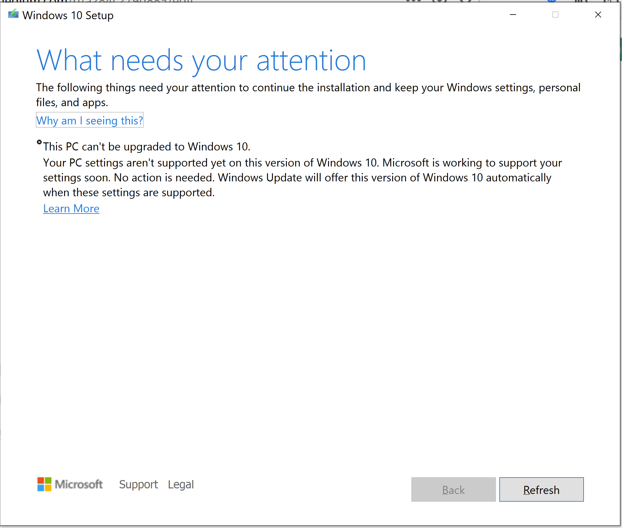 Update Assistant failed to update Windows to ver 2004