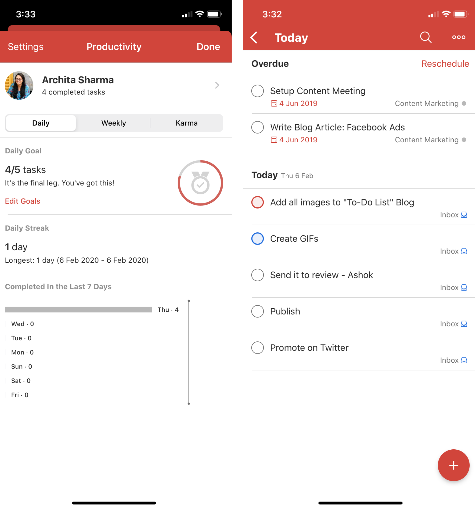 Todoist Mobile App (iOS Version)