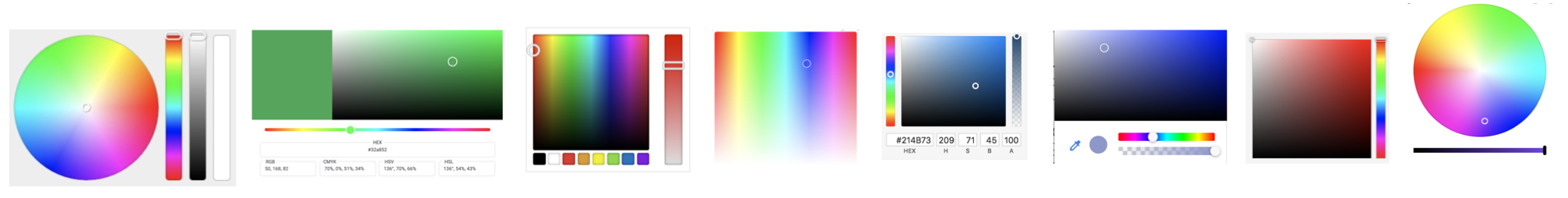 Lots of different color pickers, showing different layouts and structures of colorspace