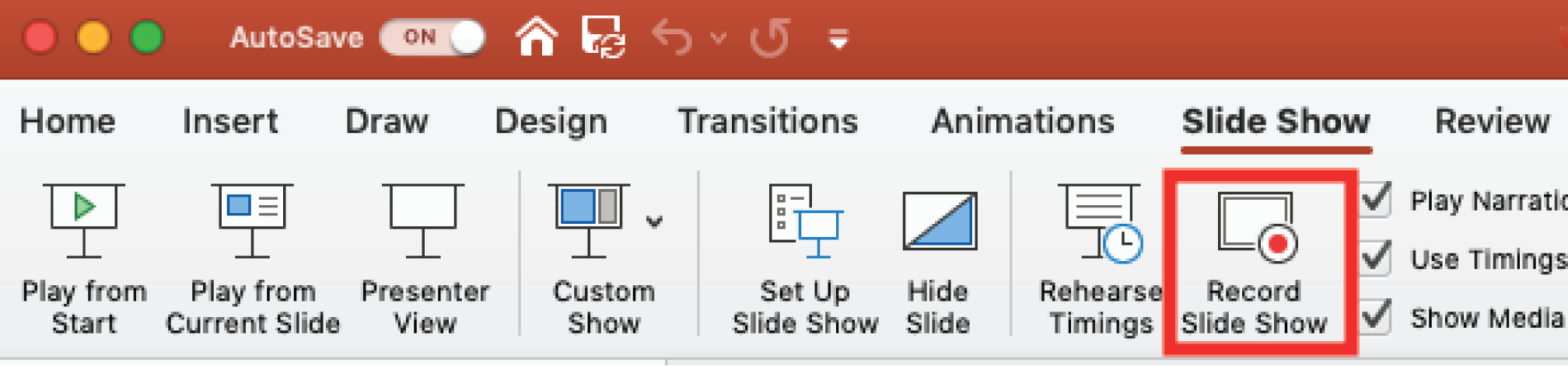 The toolbar of Powerpoint with the Record Slide Show button selected.