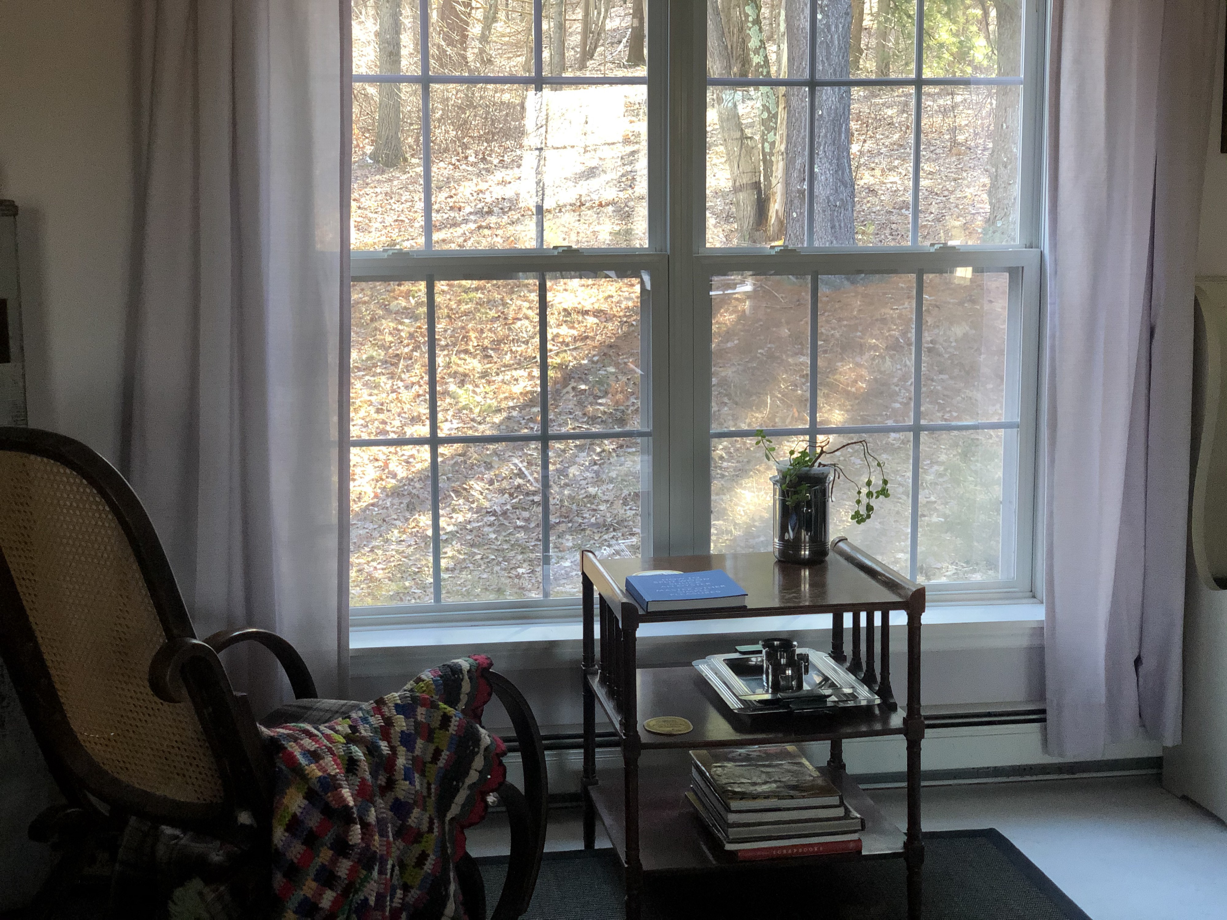 Chair by a window overlooking nature