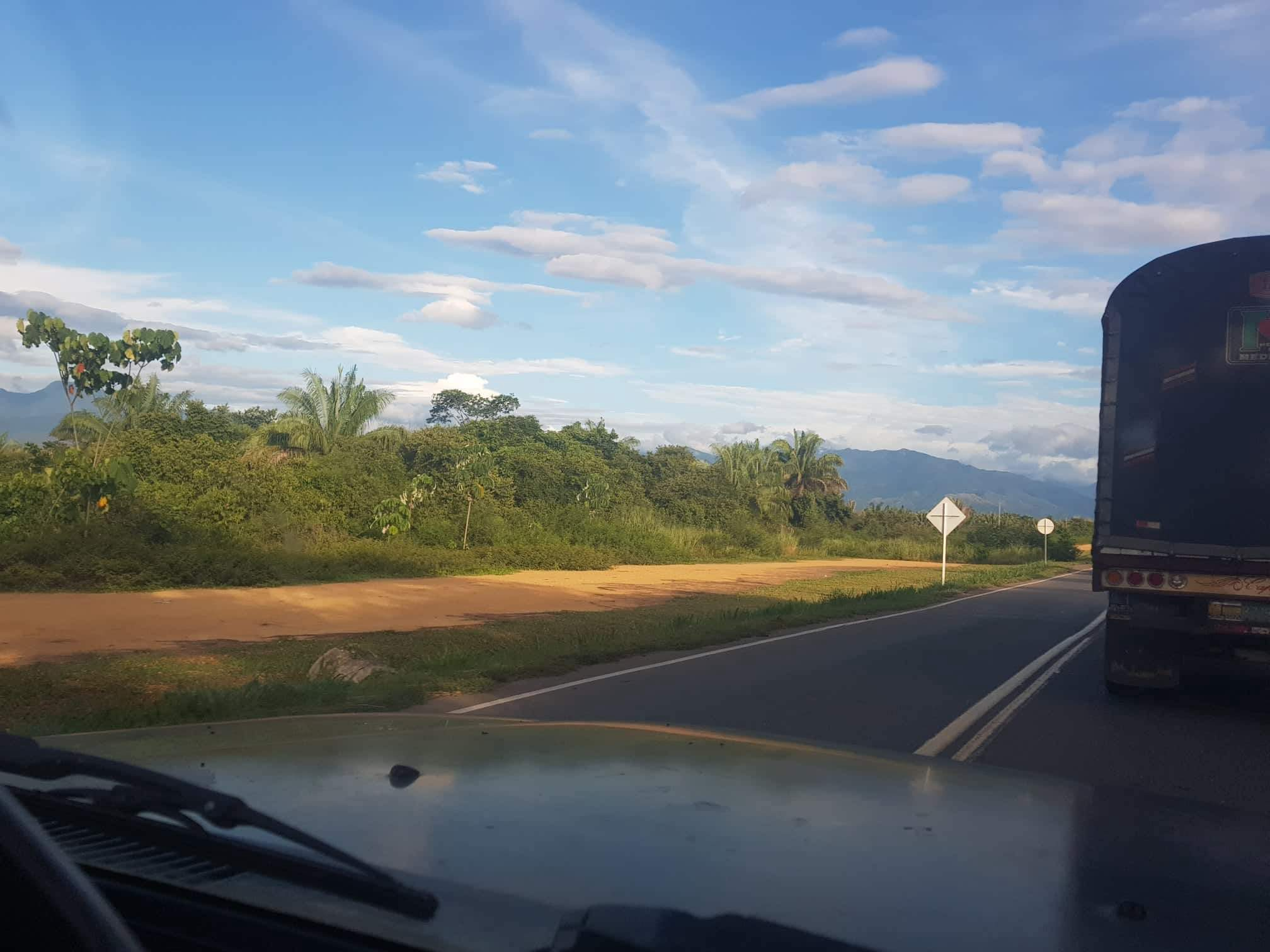 Stuck behind another truck, lucky I have a great view of The Andes