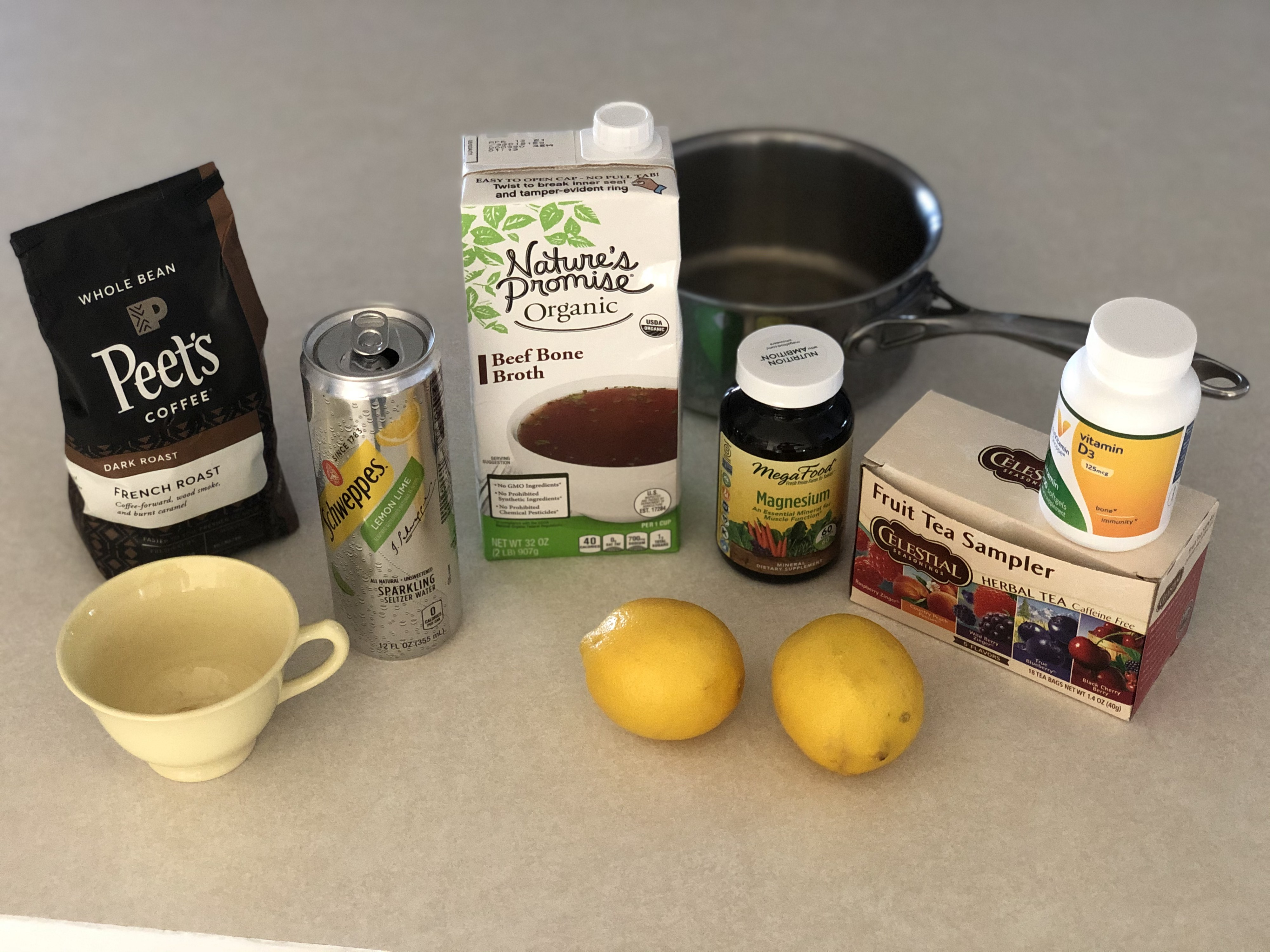 What I drank and ate to keep a 72 hour fast - infusions, broth, seltzer, coffee, magnesium and vitamin D