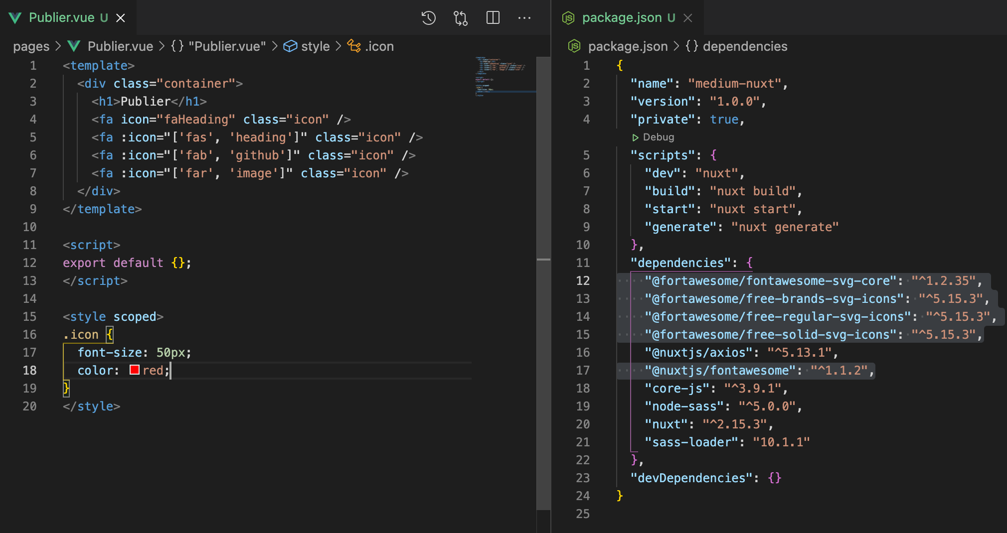 How to add icon in a component and look of package.json