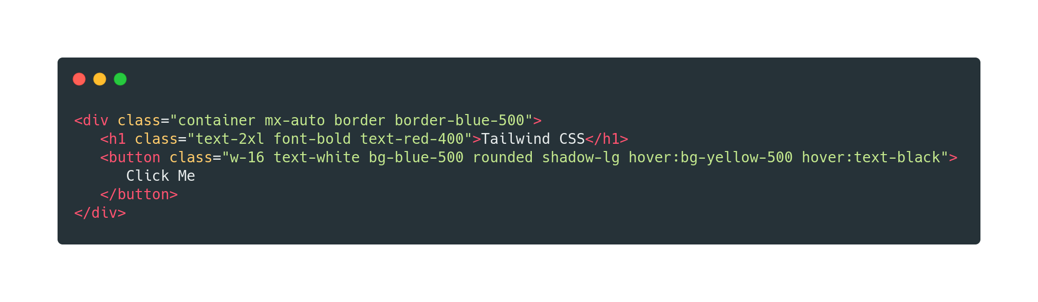 An example of adding Tailwind CSS utility classes to a block of HTML