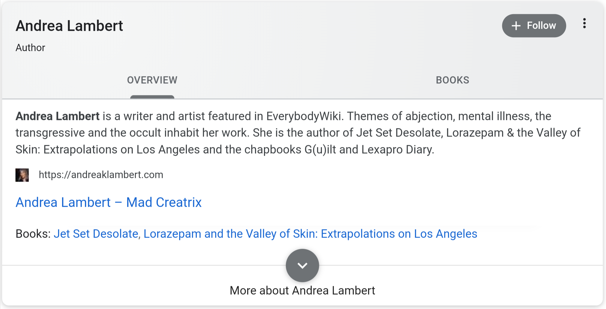 Screenshot of Google search results identifying Andrea Lambert as a writer and artist.
