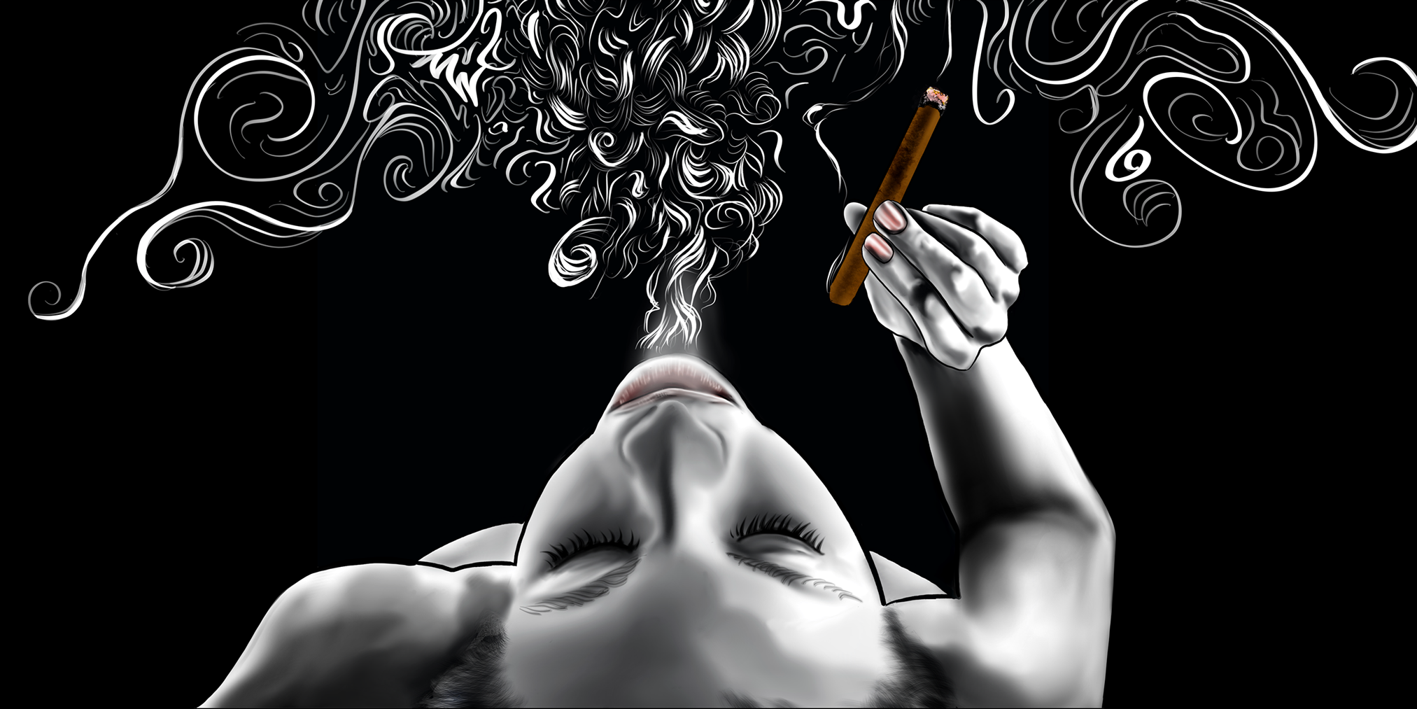 Digital illustration of a woman on her back smoking a cigar and she blows a plume of Art Deco Style smoke.