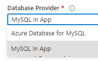 Selecting MySQL In App from the list of database providers in Azure